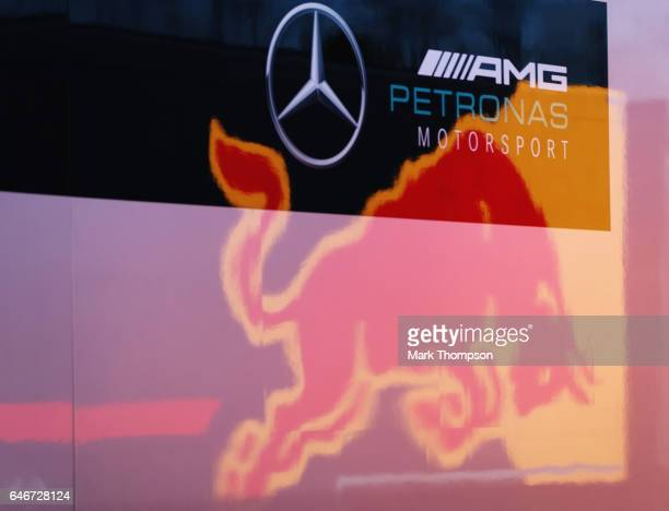 The Red Bull Racing logo reflected in the a truck of the Mercedes GP team during day three of Formula One winter testing at Circuit de Catalunya on...