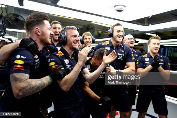 The Red Bull Racing team celebrate during qualifying for the F1 Grand Prix of Hungary at Hungaroring on August 03, 2019 in Budapest, Hungary.