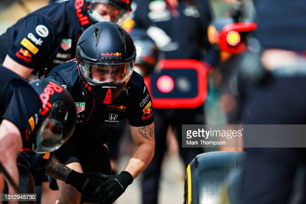 The Red Bull Racing team practice pitstops before final practice ahead of the F1 Grand Prix of Emilia Romagna at Autodromo Enzo e Dino Ferrari on...
