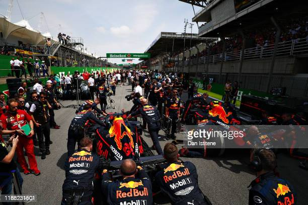The Red Bull Racing team prepare for the race on the grid before the F1 Grand Prix of Brazil at Autodromo Jose Carlos Pace on November 17, 2019 in...