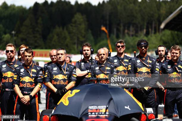 The Red Bull Racing team prepares on the grid before the Formula One Grand Prix of Austria at Red Bull Ring on July 1 2018 in Spielberg Austria