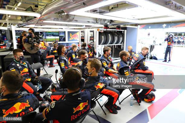 The Red Bull Racing team watch the action during the Formula One Grand Prix of Austria at Red Bull Ring on July 05, 2020 in Spielberg, Austria.