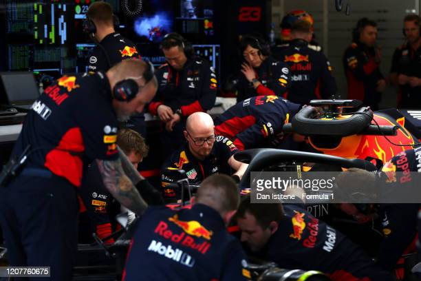 The Red Bull Racing team work in the garage during day three of F1 Winter Testing at Circuit de Barcelona-Catalunya on February 21, 2020 in...