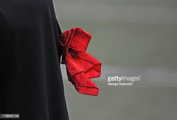 The red challenge flag used by a team to signal a request for a review of a play is visible in the pocket of the pants of head coach Mike Tomlin of...
