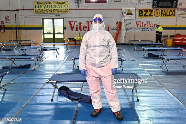 The Red cross staff in protective suit in the field hospital on October 15 2020 in Turin Italy The Emergency Piedmont Civil Protection train daily to...