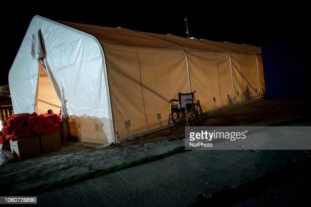 The Red cross tent where the rescued migrants are attended by the team Malaga The Maritime Spanish Vessel SAR Mastelero rescued three dinghies with a...