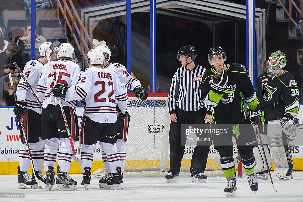 The Red Deer Rebels celebrate the goal of Wyatt Johnson #21 against the Edmonton Oil Kings during a WHL game at Rexall Place on March 16, 2014 in Edmonton, Alberta, Canada.
