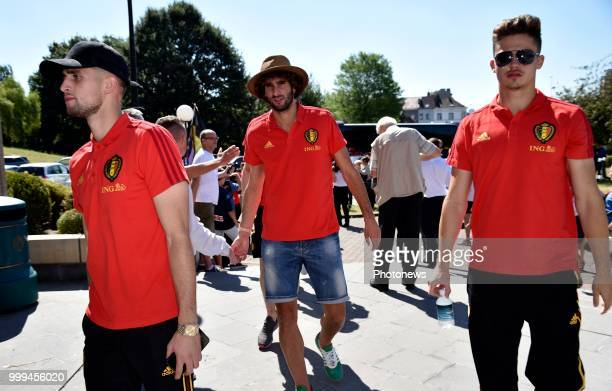 The Red Devils are pictured on the balcony of the cityhall of Brussels waving to their fans after their return from the 2018 world cup in Russia *...