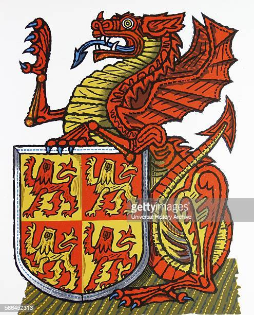 The Red dragon of Wales one of 'The Queen's Beasts' Drawn by Edward Bawden CBE RA was an English graphic artist