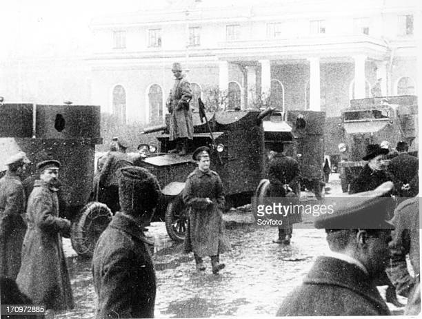 The red guards with armored cars during the days of the great october revolution 1917