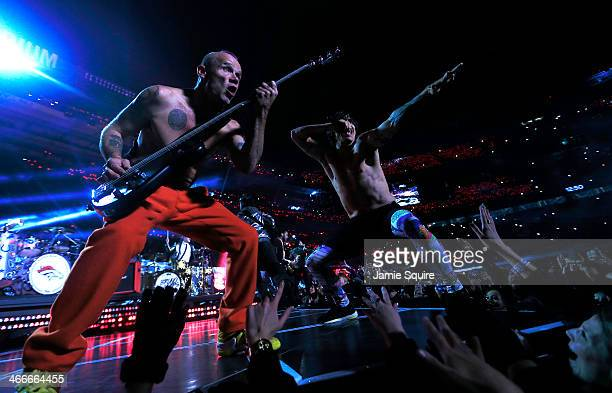 The Red Hot Chili Peppers perform during the Pepsi Super Bowl XLVIII Halftime Show at MetLife Stadium on February 2 2014 in East Rutherford New Jersey
