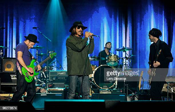 The Red Hot Chili Peppers perform onstage at the 2010 MusiCares Person Of The Year Tribute To Neil Young at the Los Angeles Convention Center on...