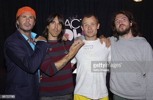 The Red Hot Chili Peppers pose backstage at the 'ReAct Now Music Relief' benefit concert at Paramount Studios on September 9 2005 in Hollywood...