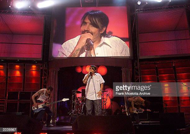 """The Red Hot Chili Peppers rehearsing at the MTV 20th Anniversary party, """"MTV20: Live and Almost Legal"""" at Hammerstein Ballroom in New York City,..."""