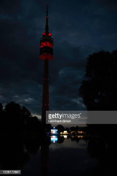 The red illuminated Olympic Tower in Munich's Olympic Park during the UEFA Champions League Final 2020 between Paris Saint-Germain and FC Bayern...