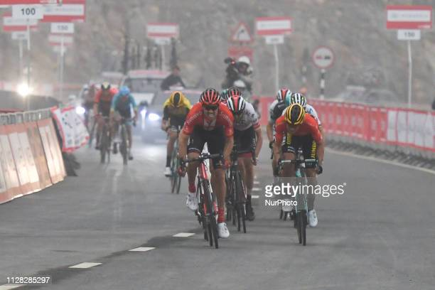 The Red Jersey Primoz Roglic of Slovenia and Team Jumbo Visma challenged by Tom Dumoulin on his way to win the sixth Rak Properties Stage of UAE Tour...