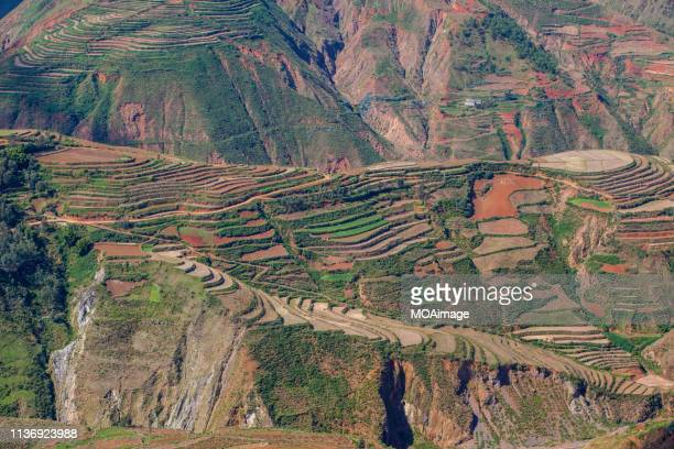 the red land in dongchuan,kunming,yunnan,china - yunnan province stock pictures, royalty-free photos & images
