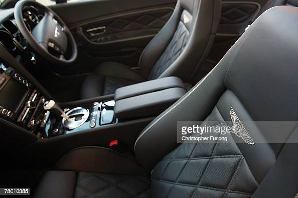 The red leather interior of a Bentley Brooklands has the finishing touches applied in the Mulliner workshop of at the Bentley Motors Factory on 19...
