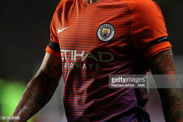 The red orange and purple Nike away shirt worn by Nicolas Otamendi of Manchester City during the UEFA Champions League match between Celtic and...