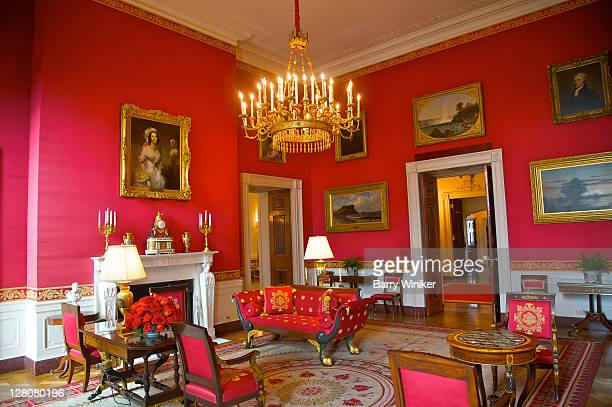 The Red Room, a state reception room with Empirestyle furnishings made 18101830 by CharlesHonore Lannuier, The White House, Washington, D.C., U.S.A.