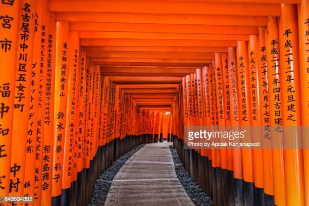 The red torii gates walkway at fushimi inari taisha shrine in Kyoto, Japan