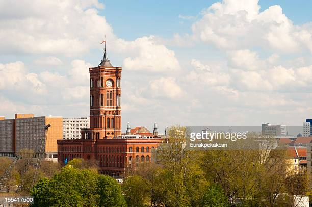 the red town hall in berlin, germany, aerial view - berkshire england stock pictures, royalty-free photos & images