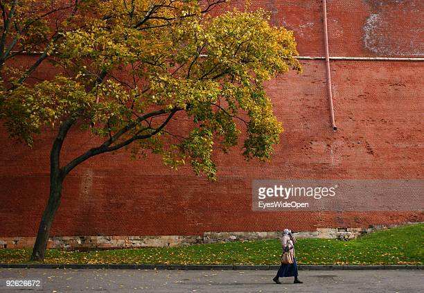 The red wall of Kremlin on on October 14 2009 in Moscow Russia Moscow is the biggest European City with more than 15 million inhabitants