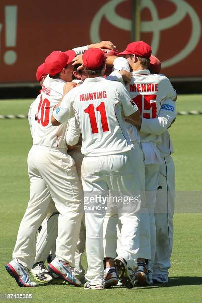 The Redbacks celebrate winning the match during day four of the Sheffield Shield match between the Western Australia Warriors and the South Australia...