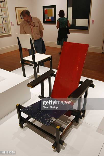 The RedBlue Chair by Gerrit Rietveld stands on display at the modell bauhaus exhibition on the first day of its opening to the public at the...