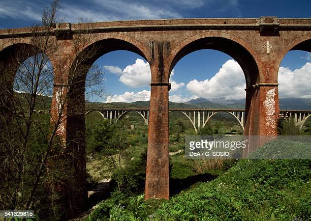 The redbrick railway bridge on the decommissioned SalernoReggio Calabria line Centola Campania Italy