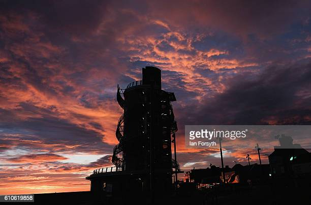 The Redcar Beacon stands tall against a dramatic sky on September 27 2016 in Redcar United Kingdom One year on since the SSI steel making plant at...