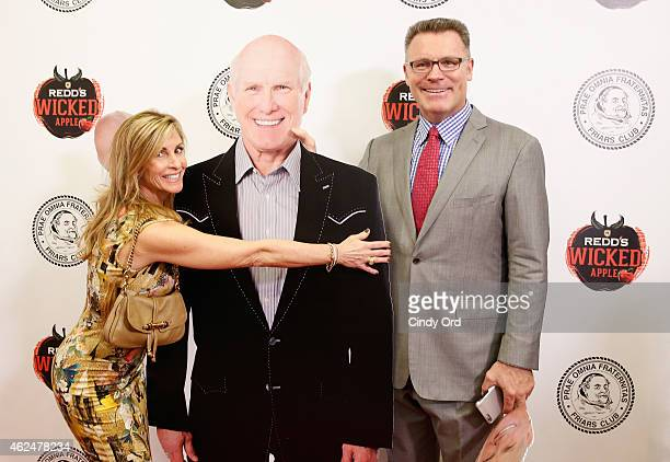 The Redd's Wicked Apple photo booth adds excitement at the Friars Club Roast of Terry Bradshaw where Diane Addonizio and Howie Long pose with...