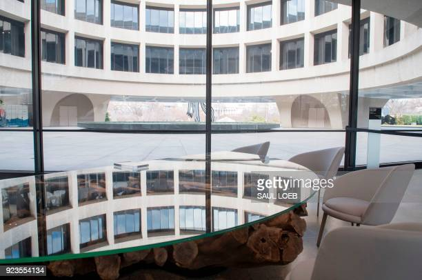 The redesign of the Smithsonian's Hirshhorn Museum lobby and cafe by Japanese artist Hiroshi Sugimoto is seen at the Museum in Washington DC February...
