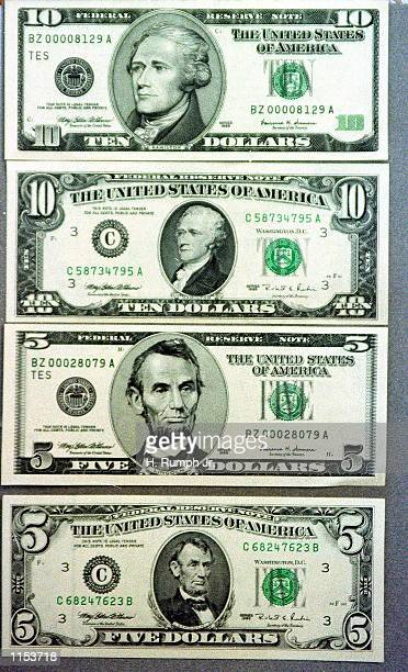 The redesigned $5 and $10 bills which were unveiled at the Treasury Department in Washington November 16 1999 The redesigned $5 and $10 bills have...