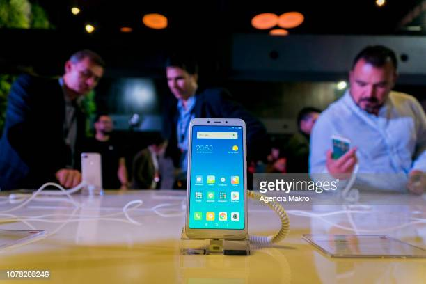 The Redmi S2 smartphone is displayed during the official launch of the Chinese brand Xiaomi on December 05 2018 in Santiago Chile