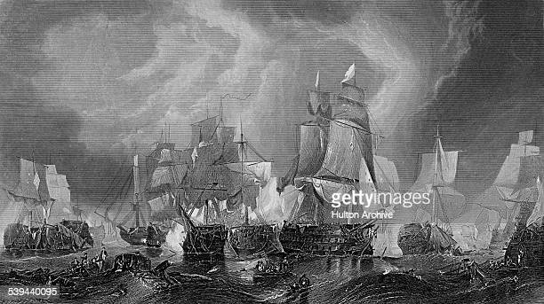 The Redoutable a Temeraire class 74gun ship of the line of the French Navy engages with the flag ship of Admiral Lord Horatio Nelson HMS Victory...