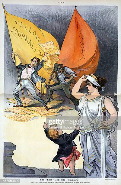 The reds and the yellows 1901 Illustration shows Puck pointing at two men and tugging at the robe of Justice who is raising the blindfold from over...