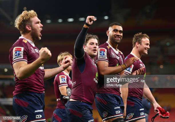 The Reds celebrate after they defeated the Rebels during the Qualifying Final Super Rugby AU match between the Queensland Reds and Melbourne Rebels...