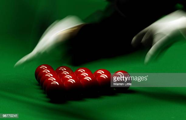 The reds set by referee Michaela Tabb during the semi final between Ali Carter of England and Neil Robertson of Australia for the Betfredcom World...