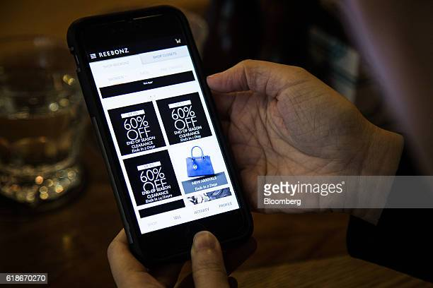 The Reebonz Pte app is displayed on a smartphone in an arranged photograph taken in Singapore on Wednesday Jan 20 2016 Singaporebased Reebonz...