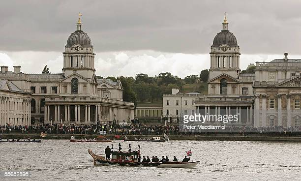 The reenactment of the funeral of Admiral Nelson is led by a replica of his flagship HMS Victory's cutter 'The Jubilant' on the River Thames in front...