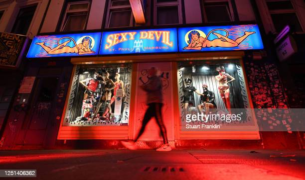 "The Reeperbahn is illuminated in red light as part of the ""Night of Light"" campaign on June 22, 2020 in Hamburg, Germany. With the ""Night of Light"",..."