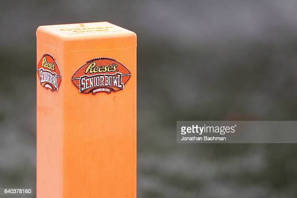 The Reese's Senior Bowl logo is seen during the Reese's Senior Bowl at the LaddPeebles Stadium on January 28 2017 in Mobile Alabama