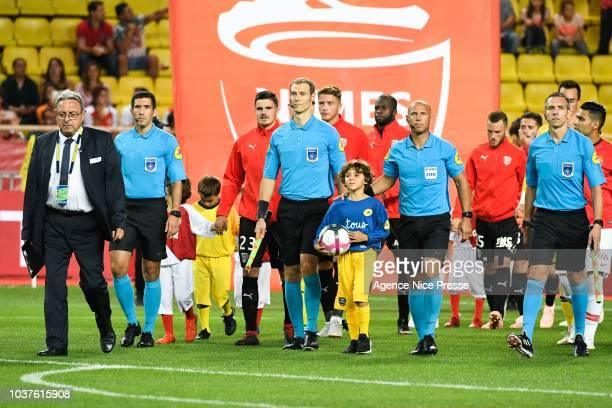 The referee Amaury Delerue and his assistants Philippe Jeanne Christophe Mouysset and Alexandre Perreau Niel during the Ligue 1 match between AS...