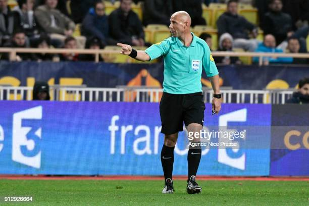 The referee Amaury Delerue during the League Cup semi final match between Monaco and Montpellier at Stade Louis II on January 31 2018 in Monaco Monaco