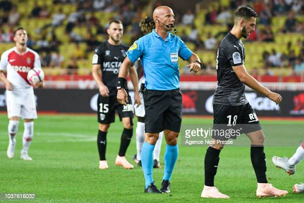 The referee Amaury Delerue during the Ligue 1 match between AS Monaco and Nimes at Stade Louis II on September 21 2018 in Monaco Monaco