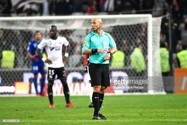 The referee Amaury Delerue during the Ligue 1 match between Nice and Amiens at Allianz Riviera Stadium on January 13 2018 in Nice France