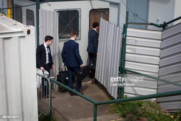 The referee and his assistants arriving at Mount Pleasant before Marske United take on Billingham Synthonia in a Northern League division one fixture...