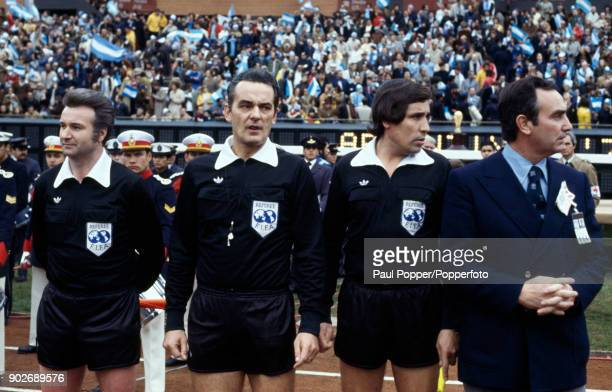 The referee and linesmen during the prematch formalities prior to the FIFA World Cup Final between Argentina and Holland at the Estadio Monumental in...