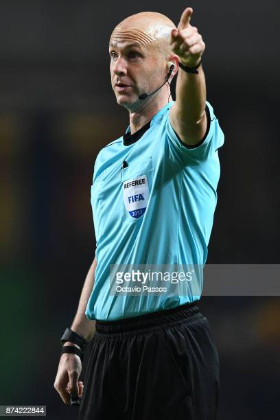 The referee Anthony Taylor in action during the International Friendly match between Portugal and USA at Estadio Municipal Leiria on November 14 2017...